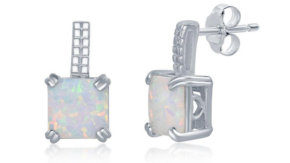 Sterling Silver Beaded Bar Prong Square White Opal Earrings