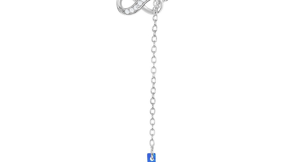 Sterling Silver Half CZ Infinity with Hanging Blue Inlay Opal Cross Necklace