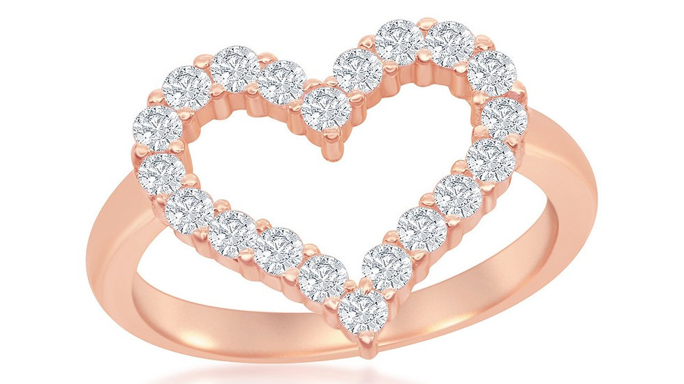 Sterling Silver Rose Gold Plated Open Heart Cubic Zirconia Ring