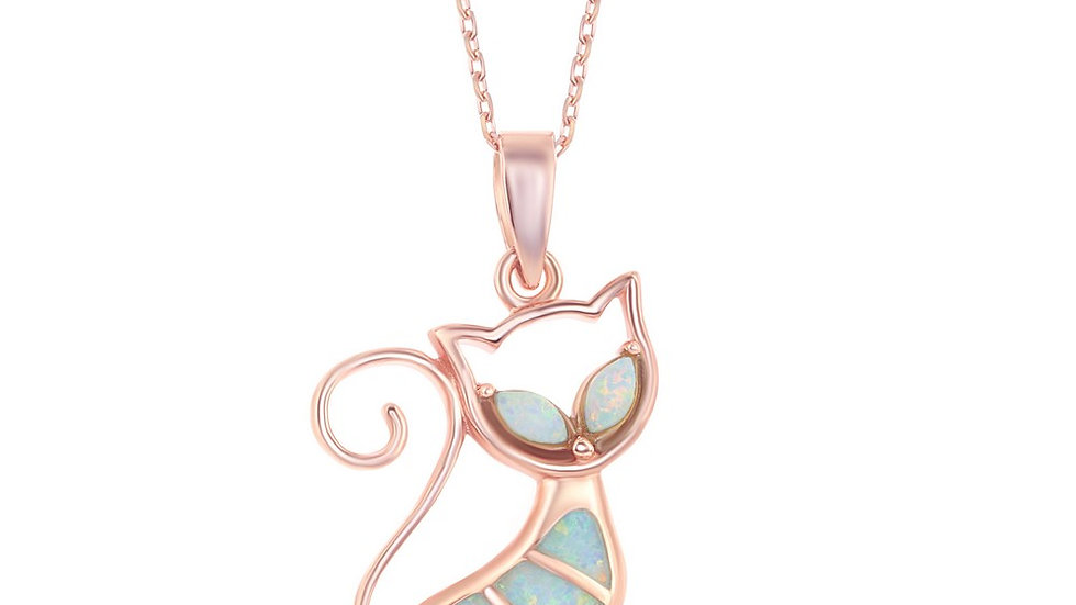 Sterling Silver White Inlay Opal Cat Pendant - Rose Gold Plated