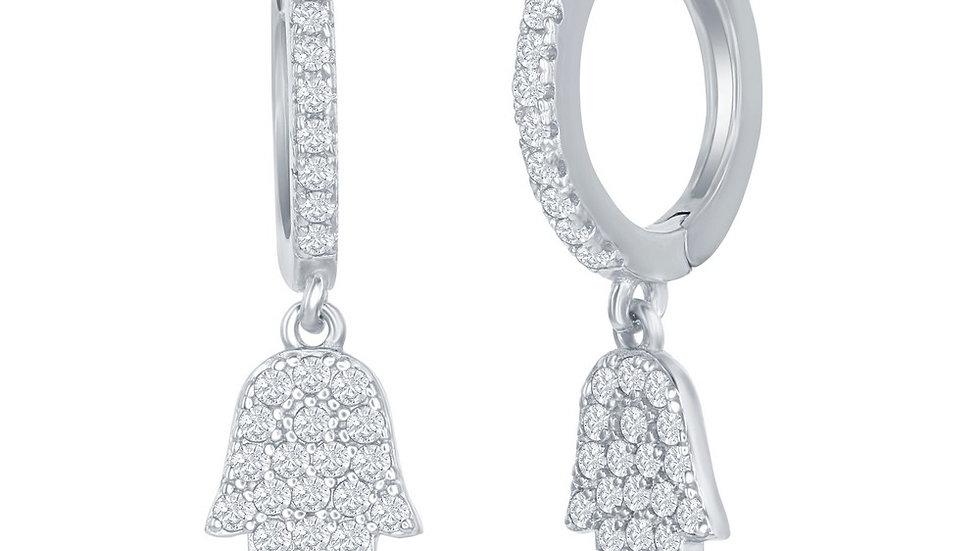 Sterling Silver Small Huggie Hoop Hamsa CZ Earrings