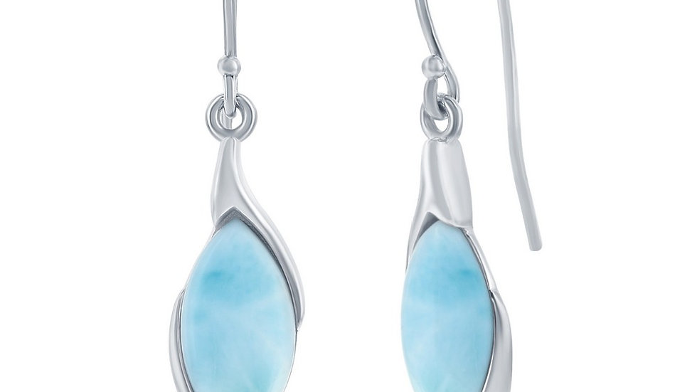 Sterling Silver Marquise Larimar Earrings
