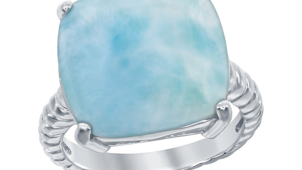 Sterling Silver Four-Prong Square Larimar with Rope Design Band Ring