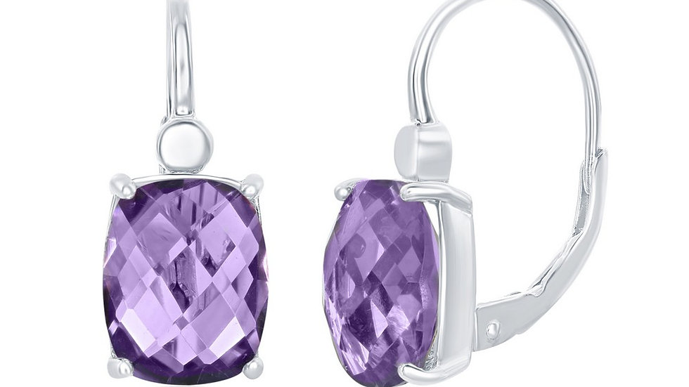 Sterling Silver Four-Prong Checkered 5.7cttw Amethyst Earrings