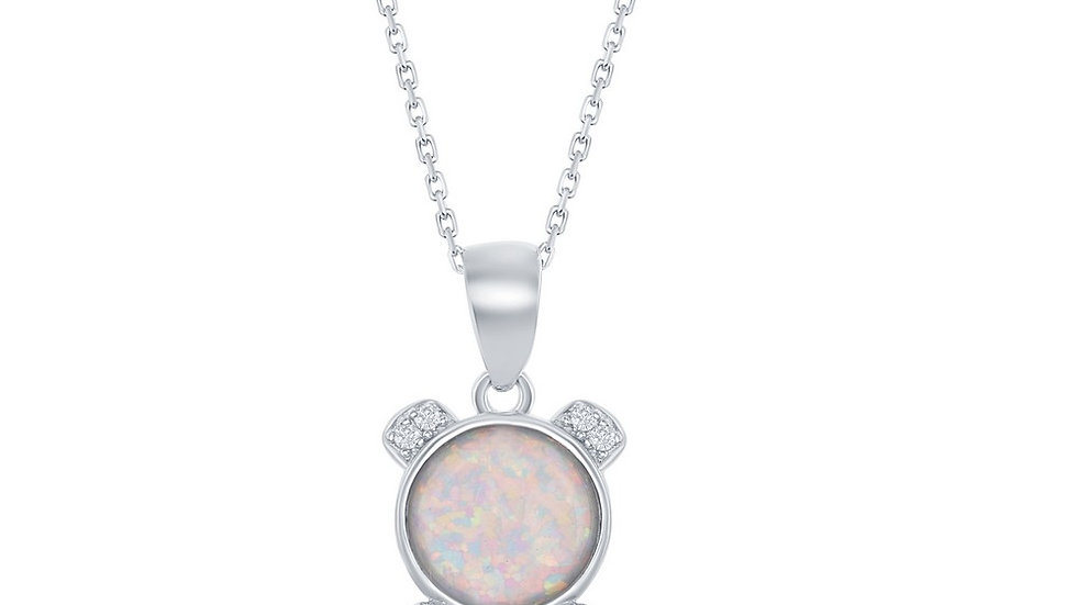Sterling Silver CZ Bear with Pink CZ Heart and Round White Opal Pendant