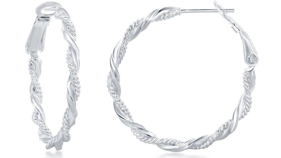 Sterling Silver Intertwinted Rope & Twist Design Hoop Earrings