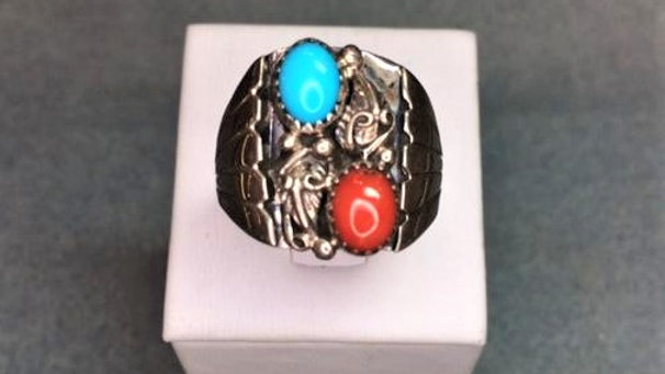 Old Pawn Men's ring with Turquoise and Red Coral