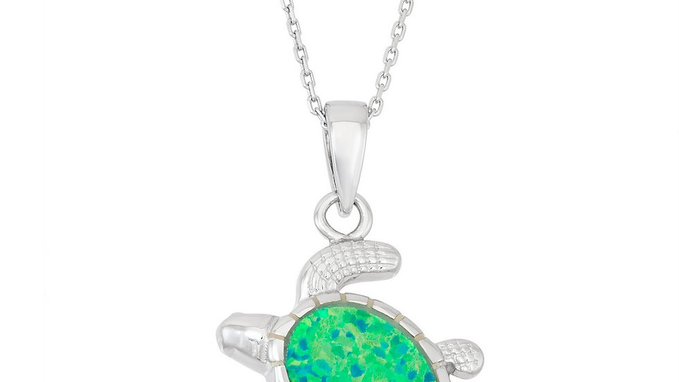 Sterling Silver Green Inlay Opal Turtle Pendant