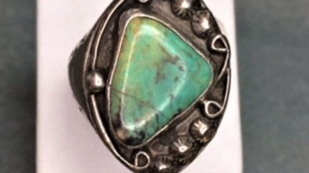 Old Pawn Green Turquoise Man's ring