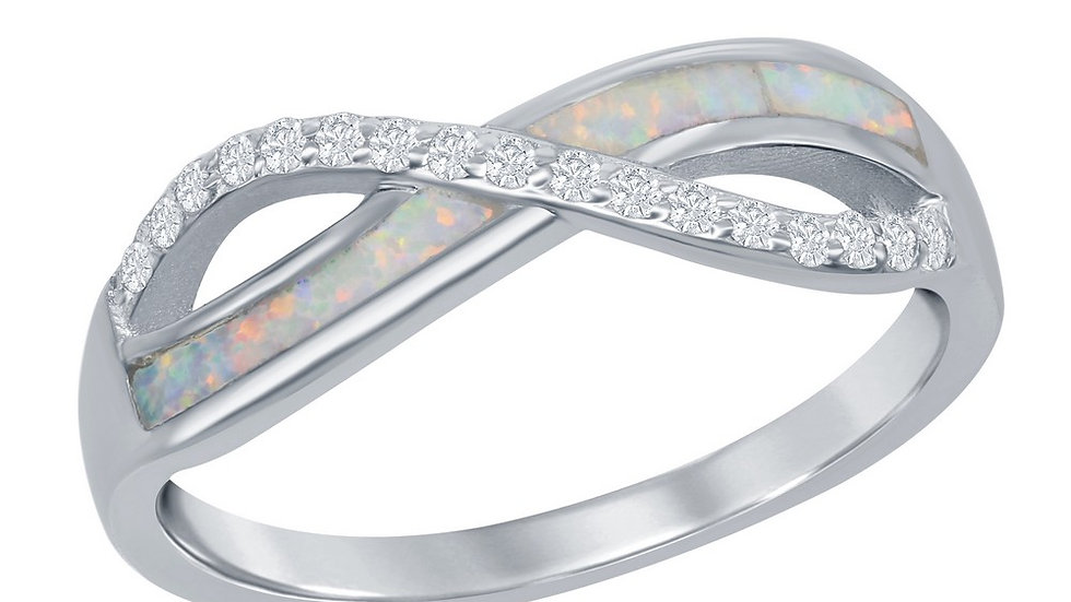 Opal inlay in Sterling White opal inlay