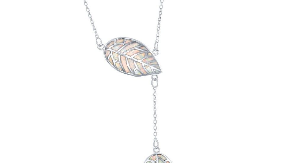 Stelring Silver White Inlay Opal Leaf with Hanging Leaf Lariat Neckalce
