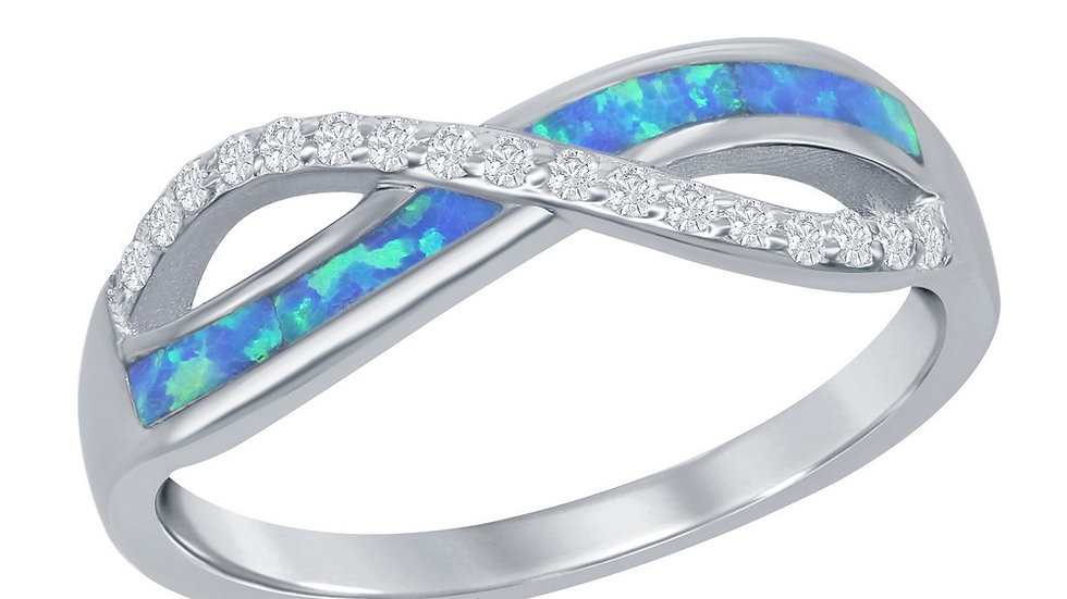 Opal inlay in Sterling with CZ accent