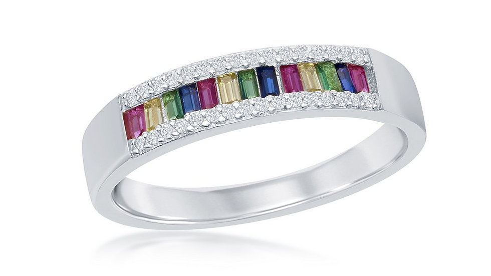 Sterling Silver Baguette Rainbow CZ with White CZ Border Channel-Set Band Ring