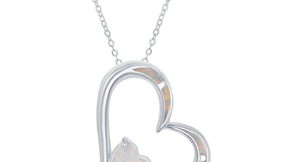 Sterling Silver White Inlay Opal Double Heart Pendant