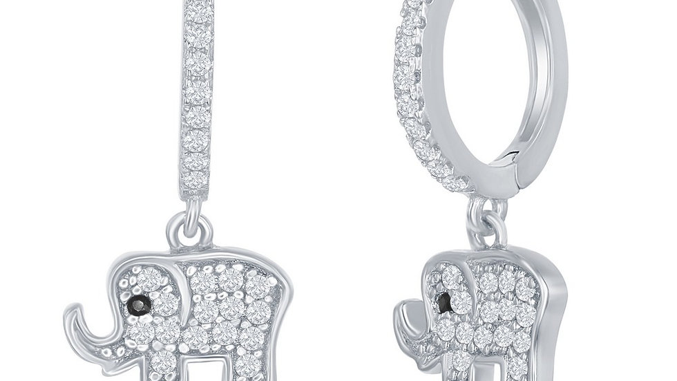 Sterling Silver Small Huggie Hoop CZ Elephant Earrings