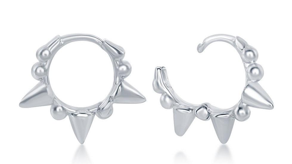 Sterling Silver Studded Mini Hoop Earrings