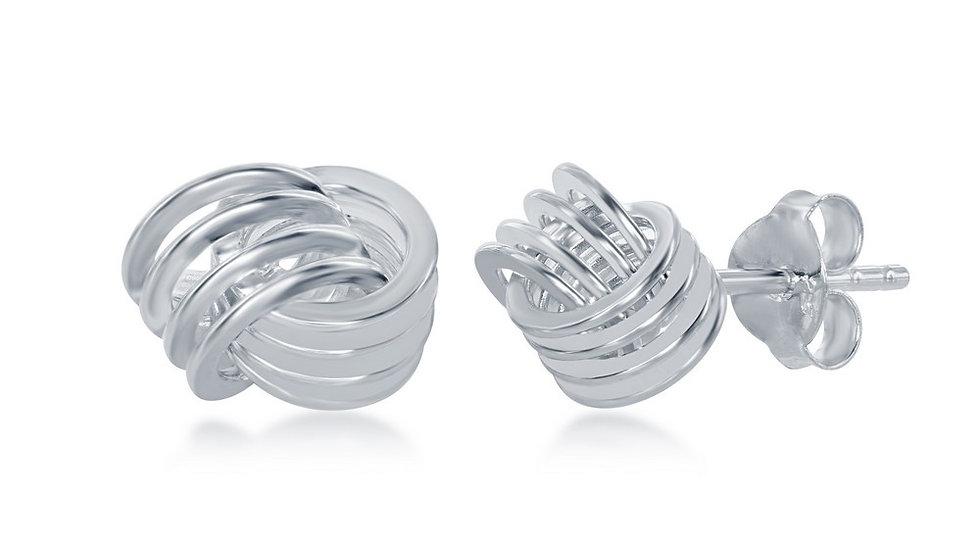 Sterling Silver Wire Love Knot Stud Earrings