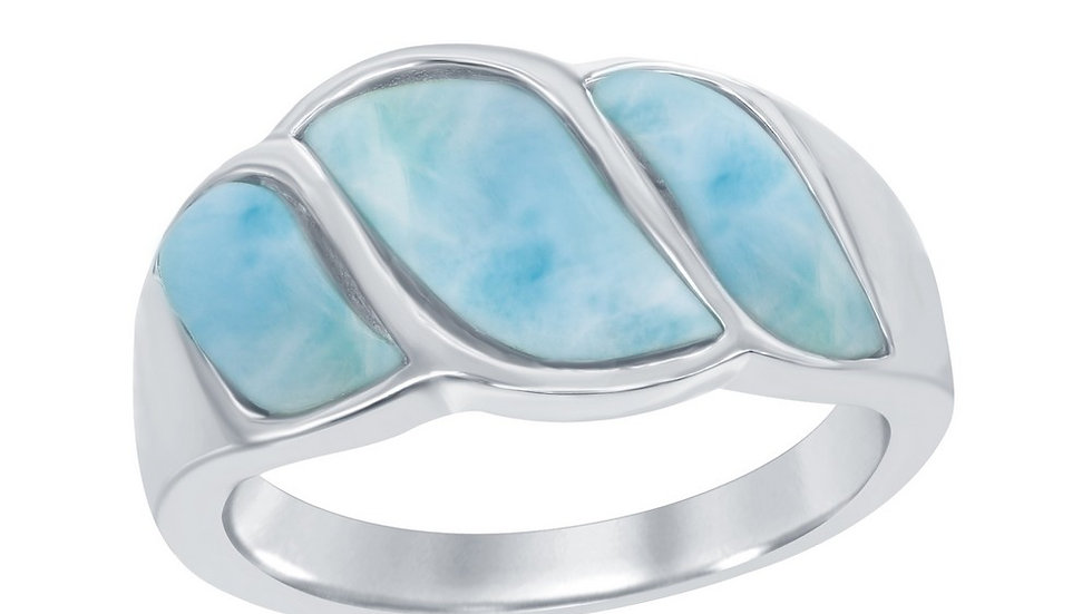 Sterling Silver Larimar Wave Design Ring