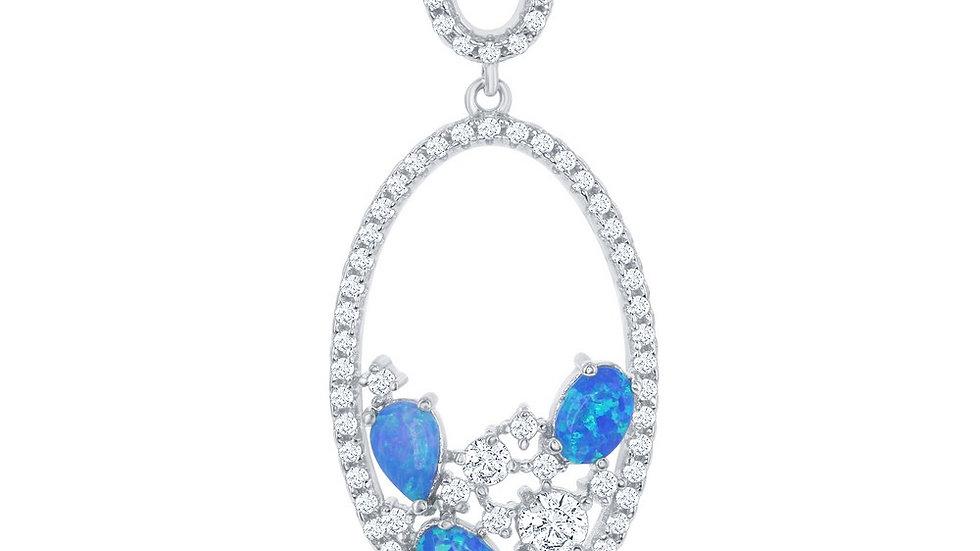 Sterling Silver Double Oval Blue Opal & CZ Pendant