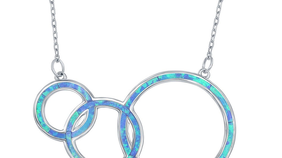 Sterling Silver Blue Inlay Opal Triple Open Circle Third Generation Necklace