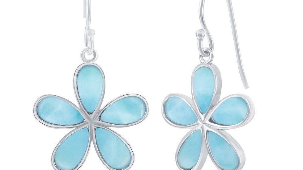 Sterling Silver Daisy Flower Larimar Earrings