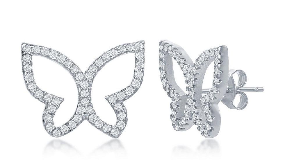 Sterling Silver Open Butterfly CZ Stud Earrings