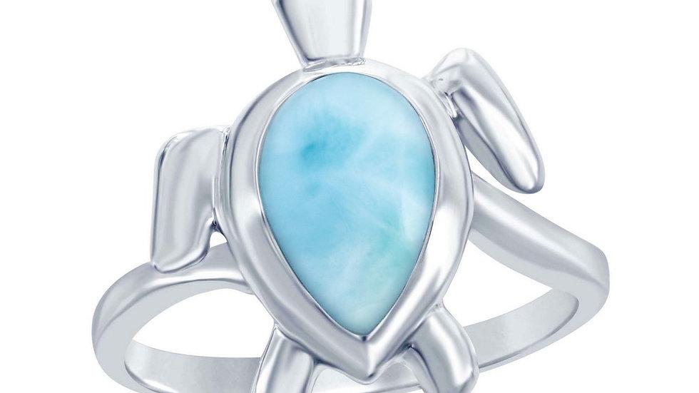 Sterling Silver Larimar Turtle Ring