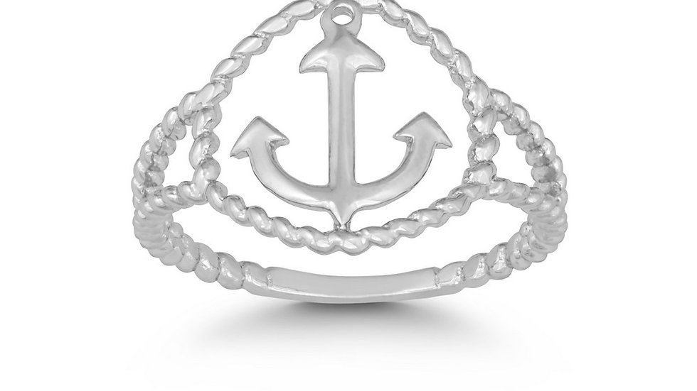 Sterling Silver Rope Design Anchor Ring