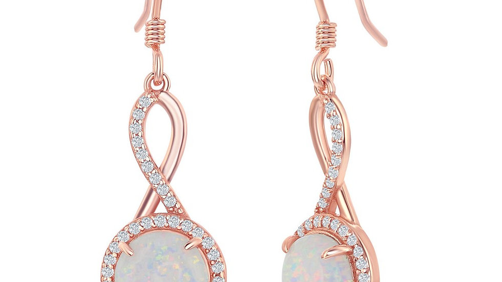 Sterling Silver Infinity Design Round White Opal with CZ Halo Earrings - Rose Go