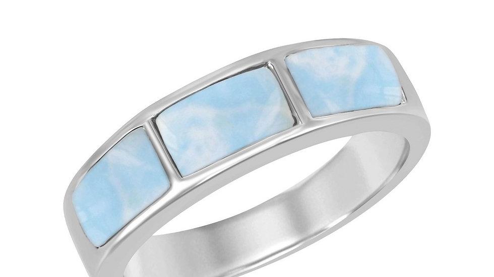 Sterling Silver Triple Larimar Ring