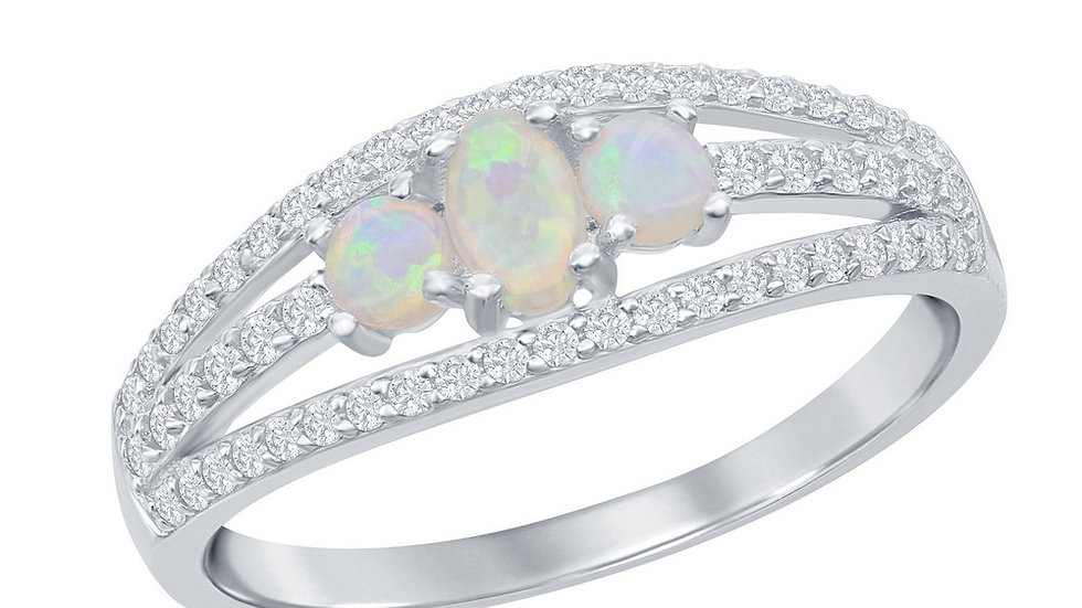 Sterling Silver Three-Stone White Opal Open CZ Band Ring
