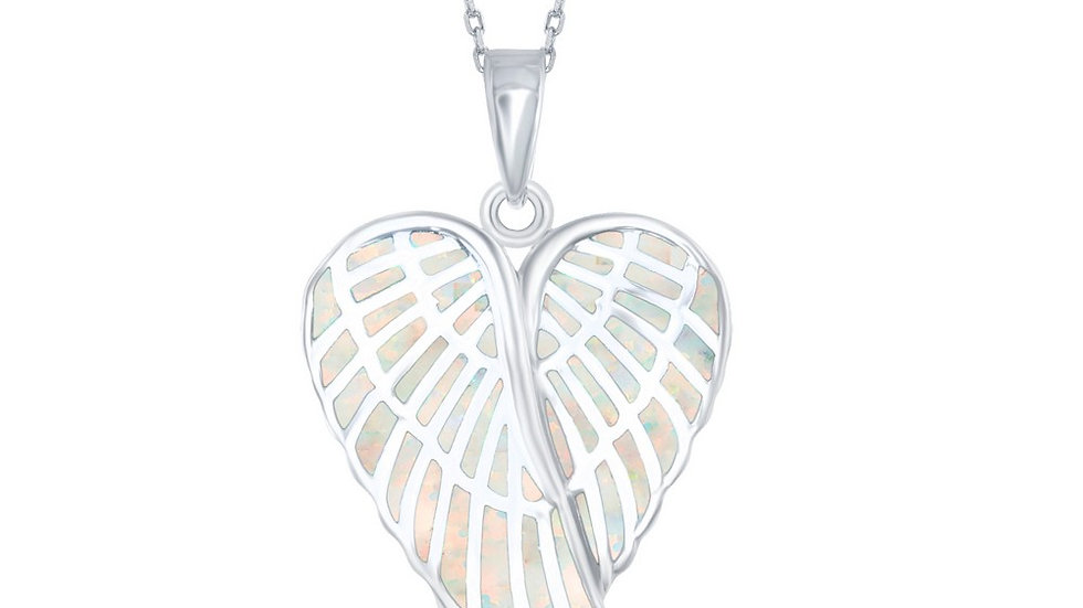 Sterling Silver White Inlay Opal Angel Wings Pendant