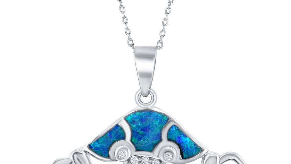 Sterling Silver Large Blue Inlay Opal Hermit Crab Pendant