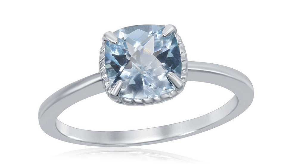 Sterling Silver Four-Prong Square Blue Topaz Rope Design Border Ring