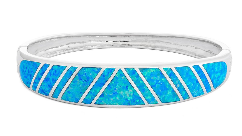 Sterling Silver Blue Inlay Opal Heavy Hinged Bangle