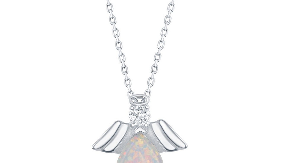 Sterling Silver Pear-Shaped White Opal with CZ Angel Pendant