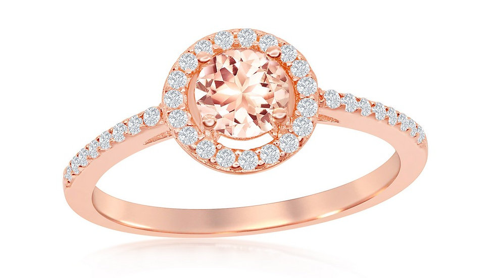 Sterling Silver 5mm Morganite CZ with White CZ Border Ring - Rose Gold Plated