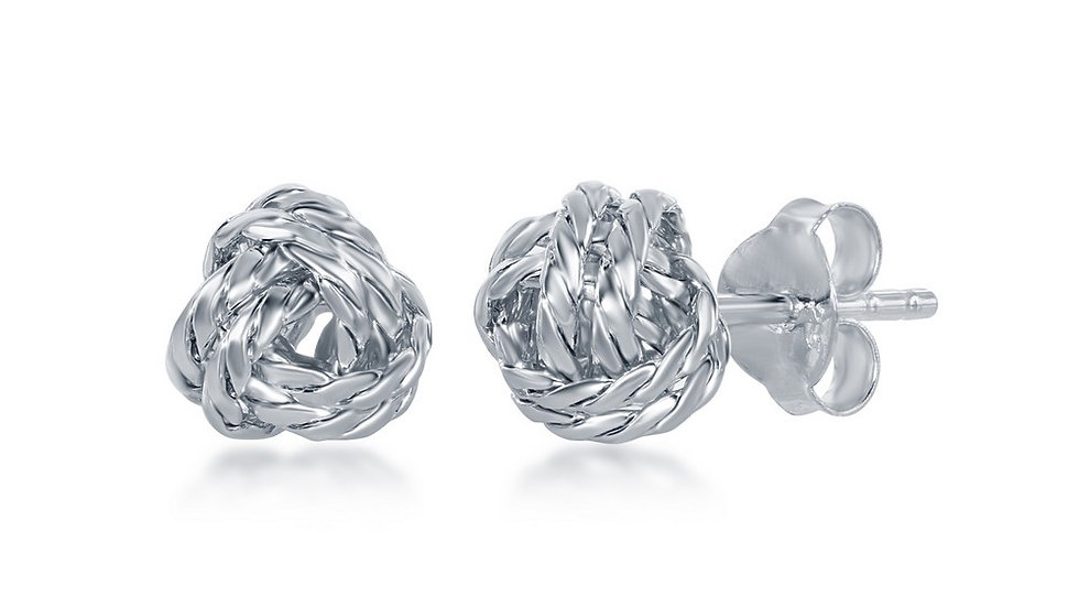 Sterling Silver Diamond-Cut Love Knot Stud Earrings