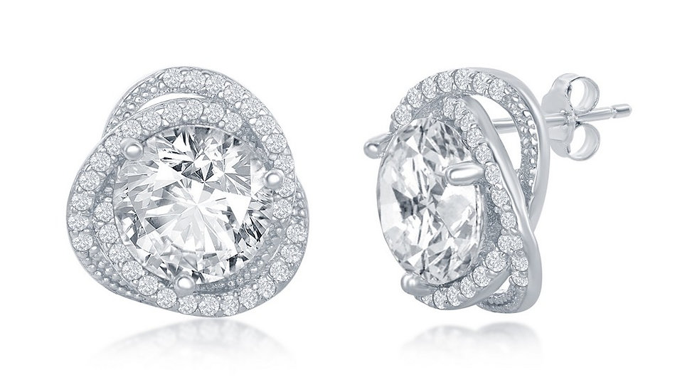 Sterling Silver 12mm Round CZ Flower Design Earrings