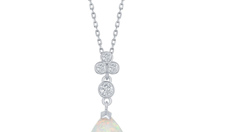 Sterling Silver Triple CZ Cluster Pear-Shaped White Inlay Opal Pendant
