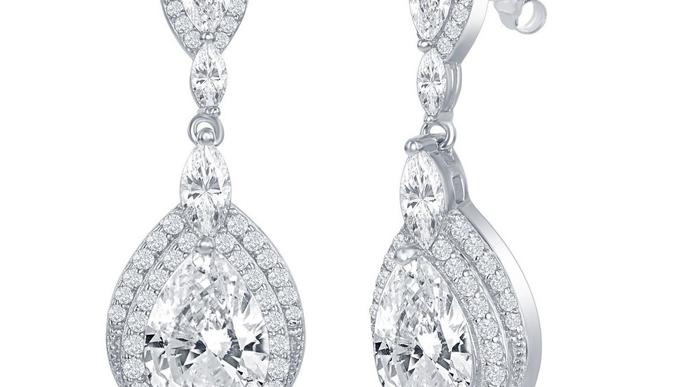 Sterling Silver Double Pearshaped CZ Dangling Earrings