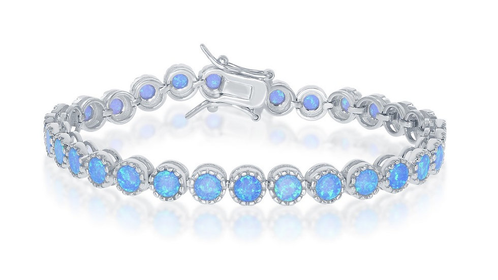 """Sterling Silver 7"""" Round Blue Inlay Opal With Beaded Border Tennis Bracelet"""