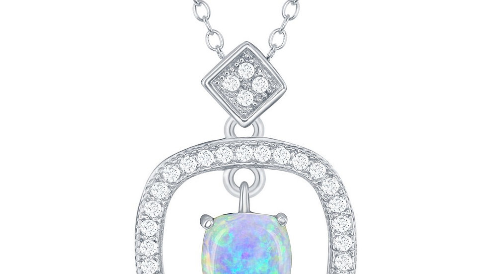 Sterling Silver Square CZ with White Inlay Opal Center Necklace