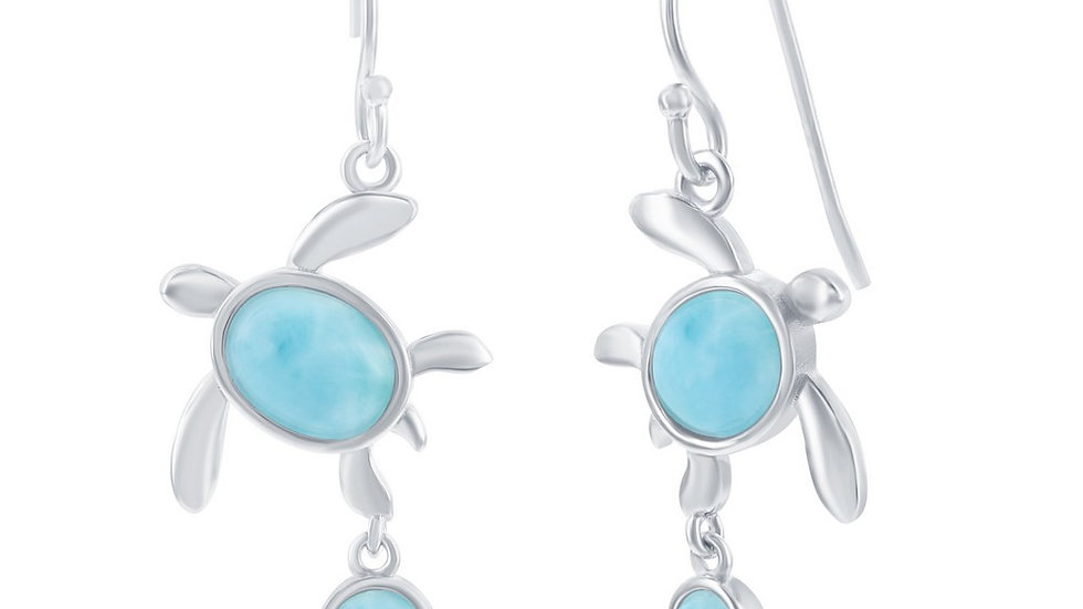 Sterling Silver Larimar Small Turtle Dangle Earrings
