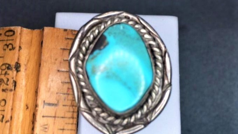 Large Stone Old Pawn Turquoise Ring