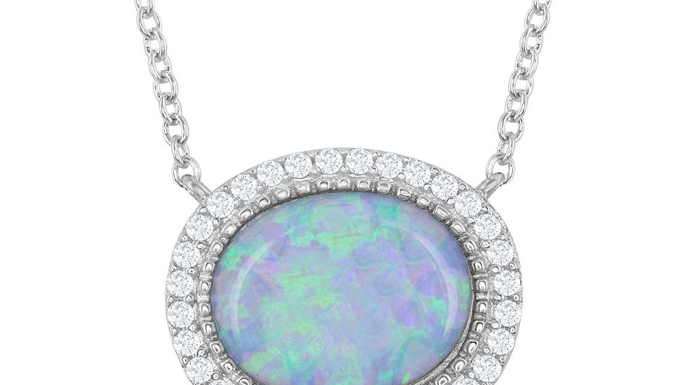 Sterling Silver Oval Opal with CZ Border Necklace