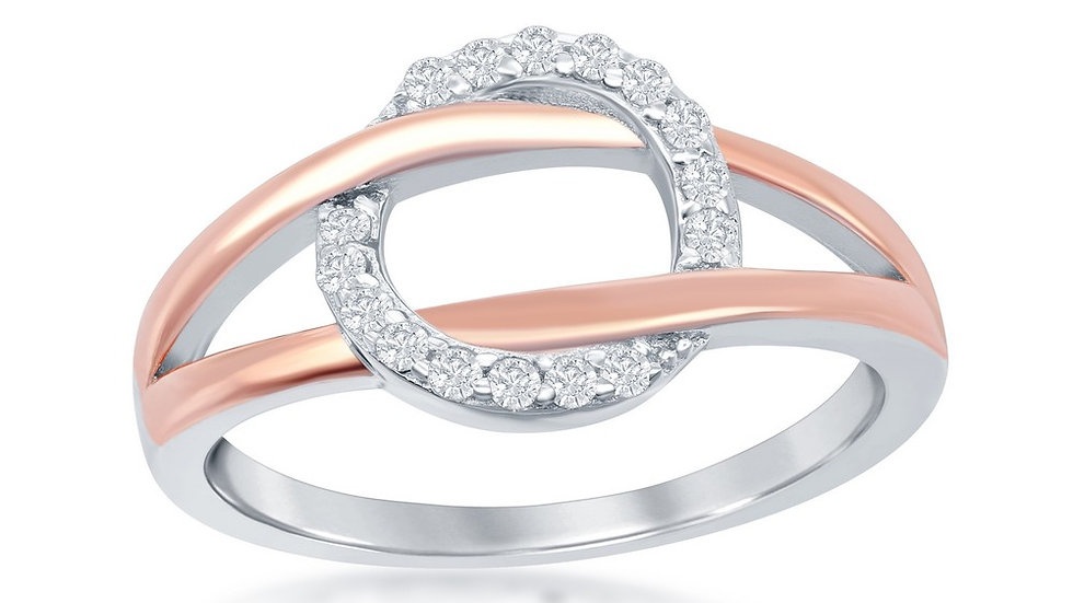 Sterling Silver Two-Tone Rose Gold Plated Band Micro Pave Cricle Ring