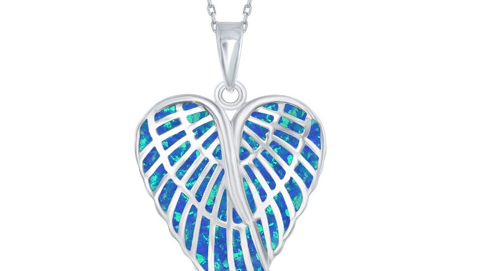 Sterling Silver Blue Inlay Opal Angel Wings Pendant