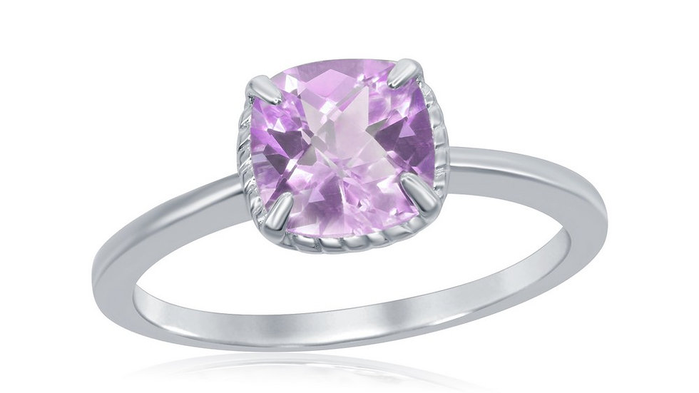 Sterling Silver Four-Prong Square Amethyst Rope Design Border Ring
