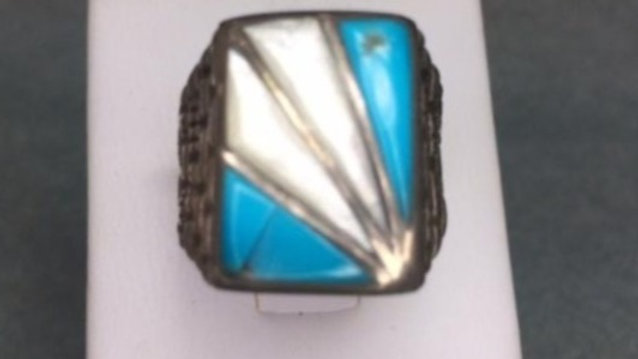 Old Pawn Turquoise and Mother of Pearl Ring